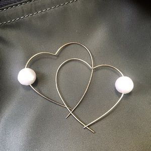 Heart shape hoops with cotton pearls